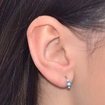 Nose Ring Hoop with Turquoise gemstones - Sterling Silver either or Rose Gold or Gold (SKU: PN0084P)