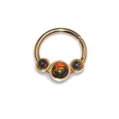 Septum Ring with Opal gemstones - Sterling Silver either or Rose Gold filled or Gold filled (SKU: PN0092P)