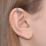 Nose Cuff with Sapphire gemstones - Fake Piercing - Sterling Silver or Gold filled (SKU: PN0140P)