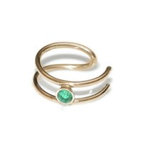 Fake Tragus Ring with 2mm Emerald gemstone - Fake Piercing - Sterling Silver or Gold filled – PN0143P