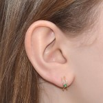 Fake Tragus Ring with 2mm Emerald gemstone - Fake Piercing - Sterling Silver or Gold filled (SKU: PN0143P)