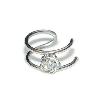 Fake Helix-Cartilage Rings with Flower - Fake Piercing - Sterling Silver (SKU: PN0144P)