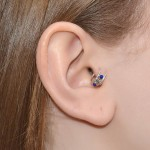 Fake Helix-Cartilage Rings with Silver Flower and Lapis Lazuli gemstones - Fake Piercing - Sterling Silver (SKU: PN0145P)