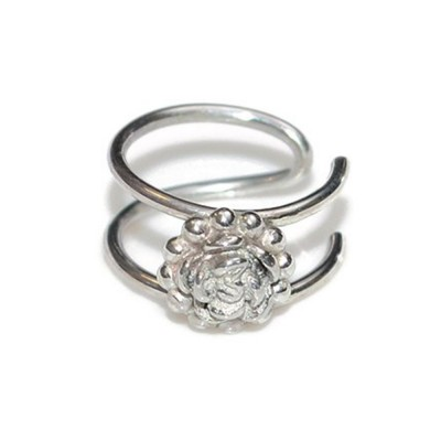 Nose Cuff with Silver Flower - Fake Piercing - Sterling Silver (SKU: PN0146P)