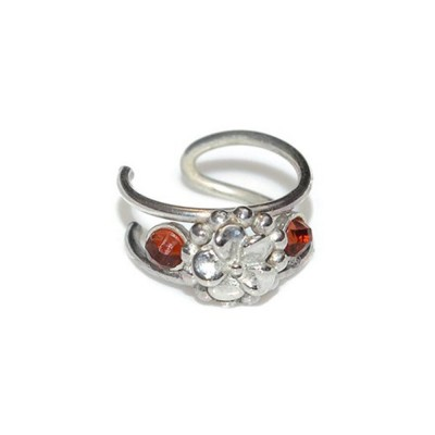 Fake Helix-Cartilage Rings with Silver Flower and Garnet gemstones - Fake Piercing - Sterling Silver (SKU: PN0148P)