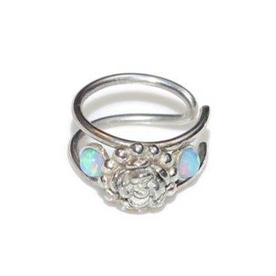 Nose Cuff with Silver Flower and Blue Opal gemstones - Fake Piercing - Sterling Silver (SKU: PN0149P)