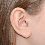 Cartilage Stud Earring with Flower - Sterling Silver (SKU: PN0158P)