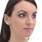 Ear Climber Earring with 3mm Onyx gemstone - Sterling Silver or Gold filled (SKU: PN0193P)