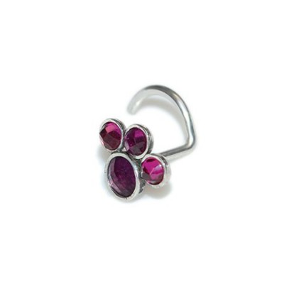 Nose Stud with red Ruby gemstones - Sterling Silver either or Rose Gold filled or Gold filled (SKU: PN0213P)