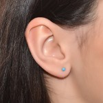 Helix Stud Earring with 3mm Turquoise gemstone - Sterling Silver (SKU: PN0217P)