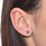 Tragus Earring Stud with 3mm Amethyst gemstone - Sterling Silver or Gold filled (SKU: PN0252P)