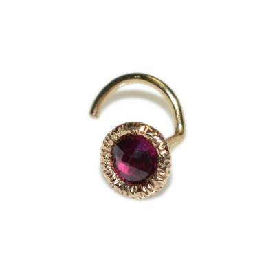 Tragus Stud with 3mm Ruby gemstone - Sterling Silver or Gold filled (SKU: PN0256P)