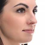 Nose Stud with Turquoise 2mm gemstone - Sterling Silver or Gold filled (SKU: PN0259P)