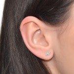Cartilage Stud Earring with 2mm Kiwi Opal gemstone - Sterling Silver either or Gold filled (SKU: PN0268P)