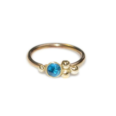 Cartilage Ring with Blue CZ gemstone - Sterling Silver either or Gold filled (SKU: PN0649P)