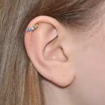 Nose Ring Hoop with Opal gemstones - Sterling Silver either or Rose Gold or Gold (SKU: PN0928P)