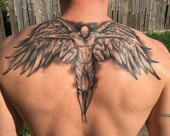 Guy tattoo on the back