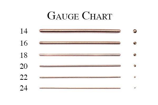 Earrings gauges chart